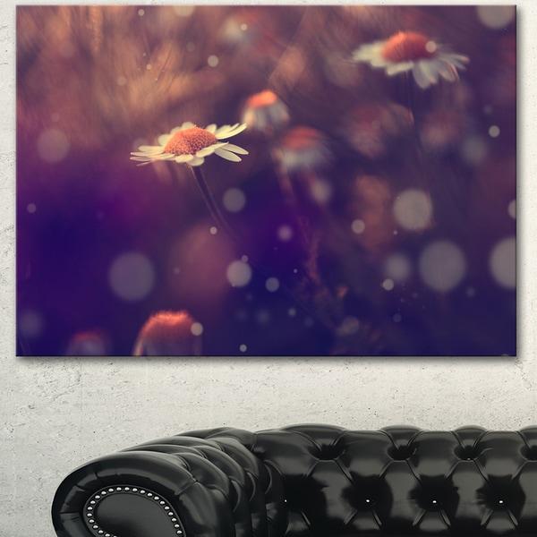 Designart 'Cute Vintage Flower With Bokeh' Large Flower Canvas Art Print - Purple