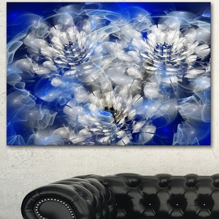 Designart 'White Chrysanthemum Fractal Flower' Large Flower Canvas Art Print