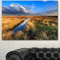 Designart 'Beautiful Meadow with Blue Sky' Landscape Artwork Canvas Print