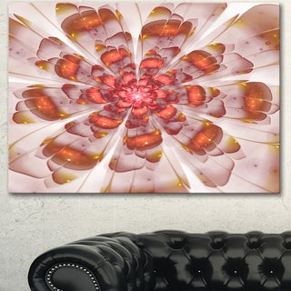 Designart 'White Brown Fractal Flower' Modern Floral Wall Artwork