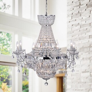 Zafirah 20-light Chrome 30-inch Crystal Chandelier