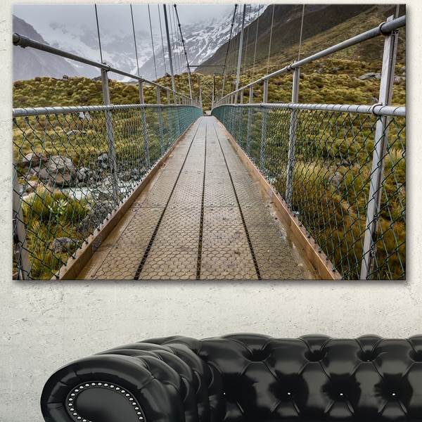 Designart 'Bridge Over Hooker River in Aoraki' Large Bridge Canvas Wall Artwork