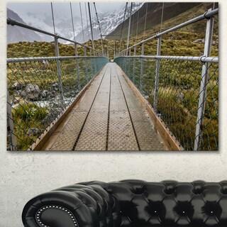 Designart 'Bridge Over Hooker River in Aoraki' Large Bridge Canvas Wall Artwork