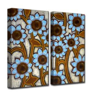 Blue Sunflowers' by Norman Wyatt, Jr 2-Piece Canvas Wall Art Set