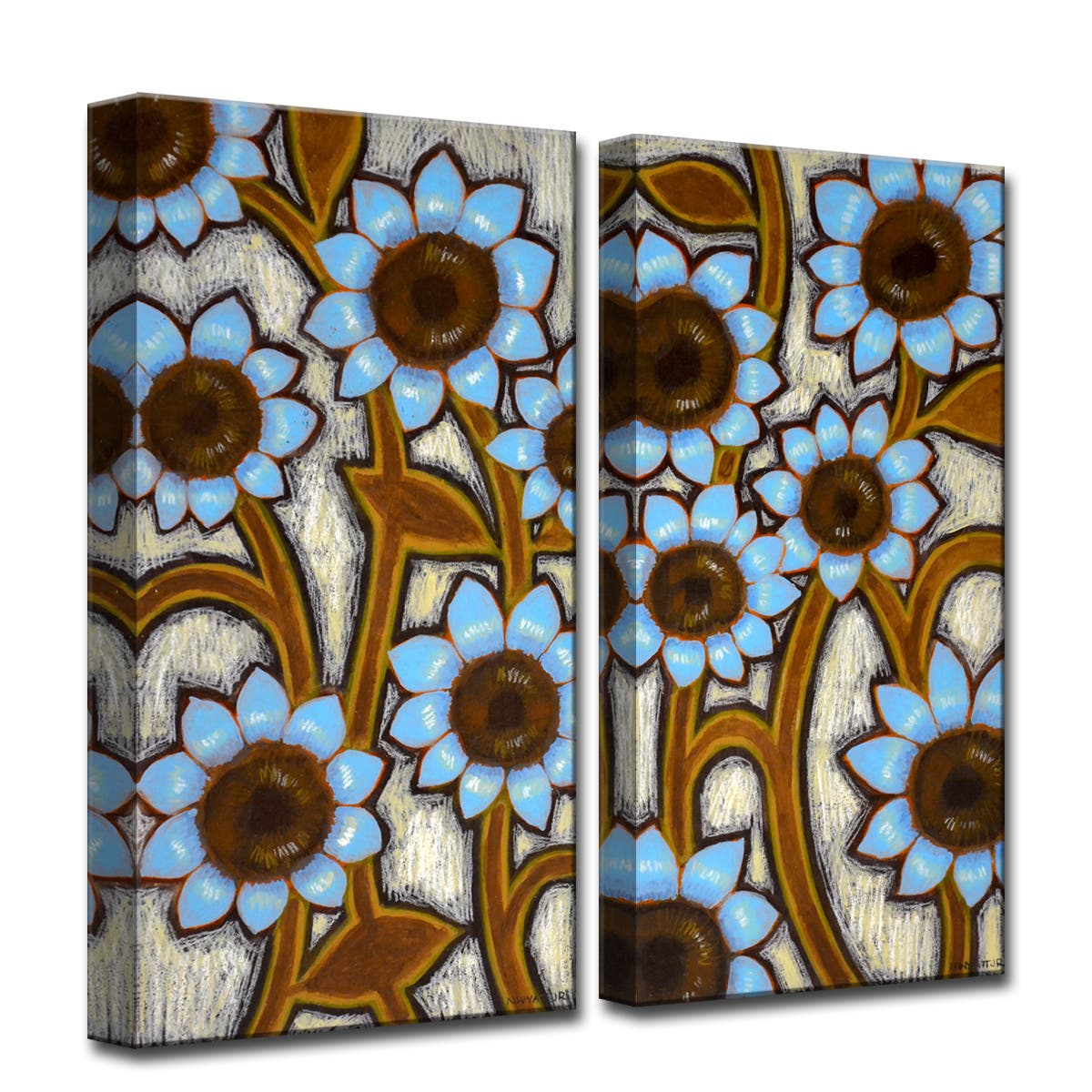 Ready2HangArt 'Blue Sunflowers' by Norman Wyatt, Jr 2 Piece Canvas Art Set