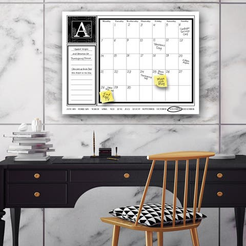 "'Monogram' Dry Erase Monthly Calendar on ArtPlexi (16"" x 20"")"