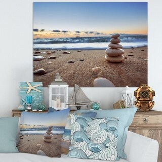 Stones Balance on Sandy Beach' Modern Seashore Canvas Wall Art Print (5 options available)