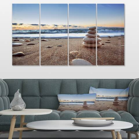 Stones Balance on Sandy Beach' Modern Seashore Canvas Wall Art Print