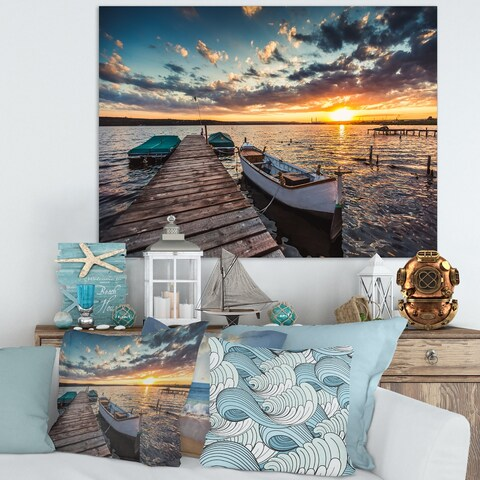 Designart 'Boats and Jetty under Dramatic Sky' Modern Bridge Canvas Wall Art