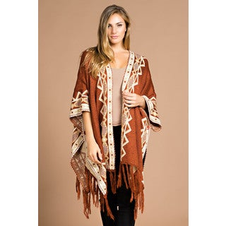 Spicy Mix Lyla Orange Acrylic Asymmetrical Tribal Knit Fringed Cardigan