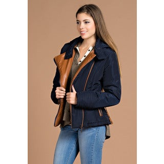 Spicy Mix Women's Willow Navy Polyester and Faux Leather Collar Ribbed Hooded Puffer Jacket