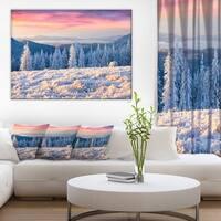 Amazing Winter Sunrise in Mountains' Large Landscape Art Canvas Print - White