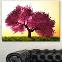 Designart 'Cherry Blossom in Beautiful Garden' Landscape Wall Artwork Canvas - Purple