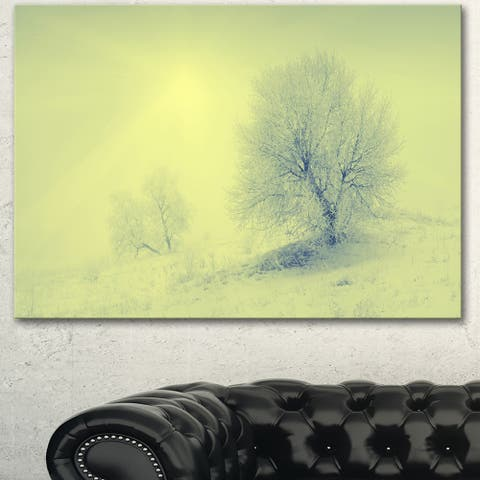 Designart 'Beautiful Winter Snow Valley' Landscape Wall Art Print Canvas - Green