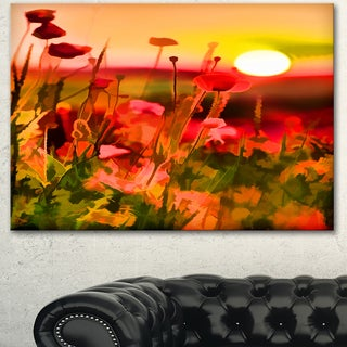 Designart 'Summer Sunset with Red Poppies' Large Landscape Art Canvas Print
