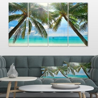 Palm Hanging over Sandy White Beach' Seashore Canvas Artwork Print