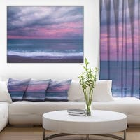 Blue and Pink Unset over Sea' Modern Seashore Canvas Wall Art Print
