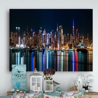 New York Midtown Night Panorama' Cityscape Wall Art on Canvas - Blue