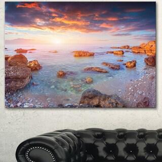Designart 'Sunrise on South Coast of Sicily' Seashore Canvas Artwork Print