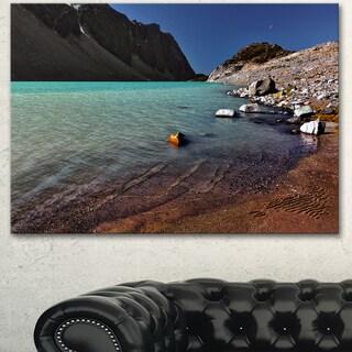 Designart 'Bright Blue Waters of Mountain Lake' Landscape Artwork Canvas Print