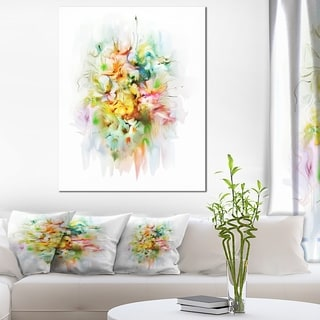 Designart 'Yellow Watercolor Flowers' Modern Floral Wall Artwork
