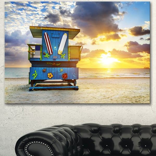 Designart \'Miami South Beach Sunrise\' Large Seashore Canvas Wall Art ...