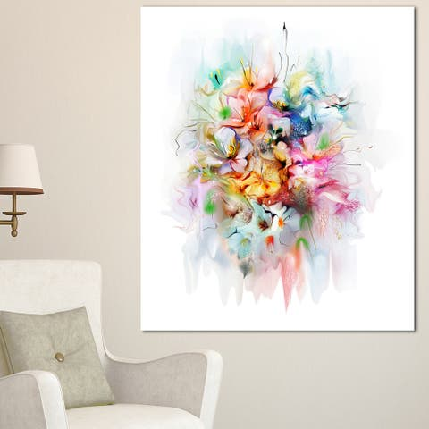 Designart 'Bunch of Watercolor Flowers' Modern Floral Wall Artwork - White