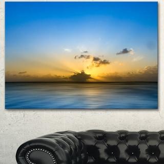 Designart 'Sunset Lake in South Thailand' Large Seashore Canvas Wall Art - Blue