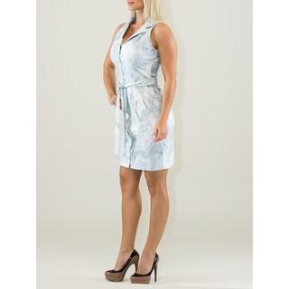 Chemisier Light Blue Cotton Sleeveless Knee-length Dress