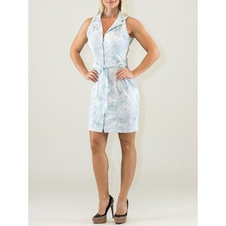 Chemisier Light Blue Cotton Sleeveless Knee-length Dress