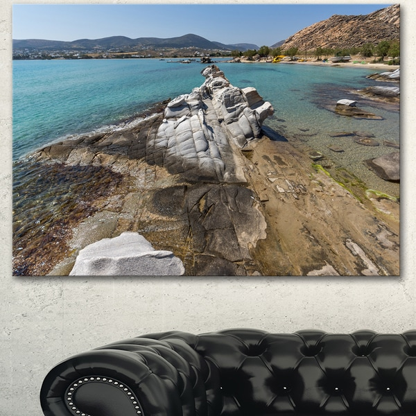 Designart 'Clean Waters and Rock Formations' Landscape Wall Art Print Canvas - Blue