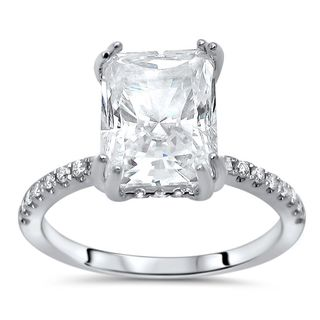 Noori 14k White Gold Radiant Moissanite and 1/3ct TDW Diamond Engagement Ring (G-H, SI1-SI2)