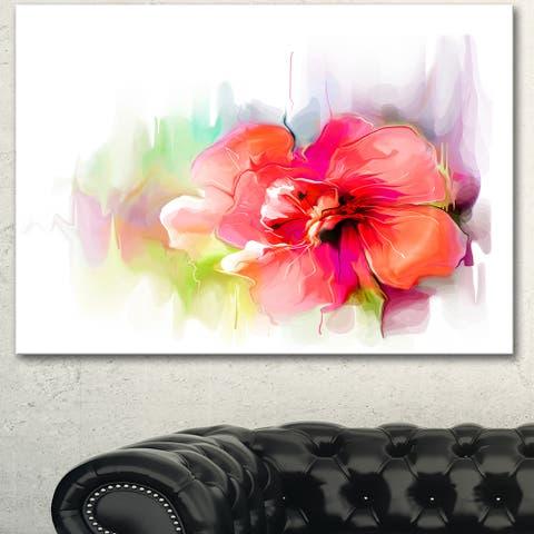 Designart 'Beautiful Red Floral Watercolor' Modern Floral Wall Artwork