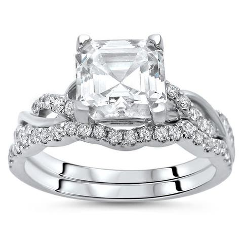 14k White Gold Asscher Moissanite and 2/5ct TDW Diamond Engagement Ring Set (F-G, SI1-SI2)