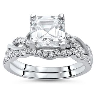 Noori 14k White Gold Asscher Moissanite and 2/5ct TDW Diamond Engagement Ring Set (F-G, SI1-SI2)