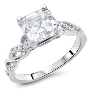 Noori 14k White Gold Moissanite and 1/5ct TDW Diamond Engagement Ring (F-G, SI1-SI2)