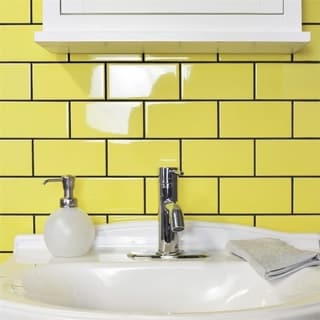 SomerTile 3x6-inch Malda Subway Glossy Canary Yellow Ceramic Wall Tile (136/Case, 17 sqft.)