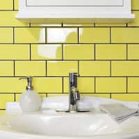 SomerTile 3x6-inch Malda Subway Glossy Canary Yellow Ceramic Wall Tile (136 tiles/17 sqft.)
