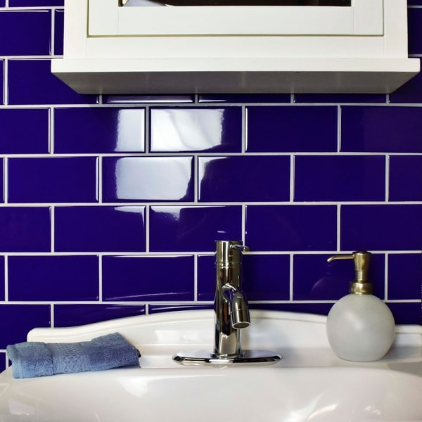 Somertile 3x6 Inch Malda Subway Glossy Royal Blue Ceramic Wall Tile 136 Case 17 Sqft Free