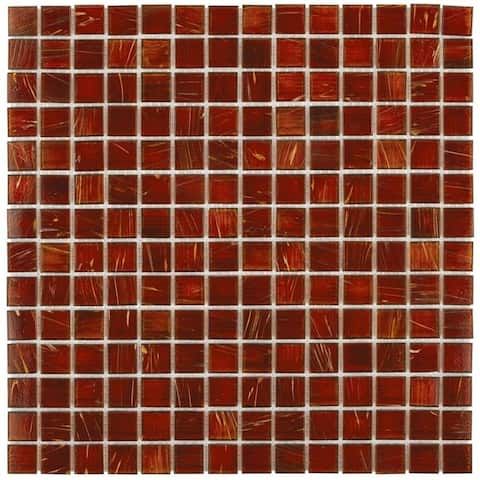 SomerTile 12x12-inch Cuivre Genghis Red Glass Mosaic Wall Tile