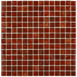 SomerTile 12x12-inch Cuivre Genghis Red Glass Mosaic Wall Tile (13/Case, 13.27 sqft.)