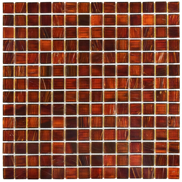 Somertile 12x12 Inch Cuivre Genghis Red Glass Mosaic Wall