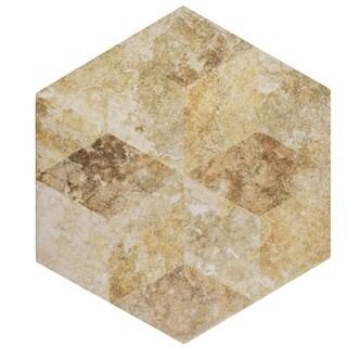 SomerTile 8.625x9.875-inch Pierre Cream Hex Decor Porcelain Floor and Wall Tile (25/Case, 11.19 sqft