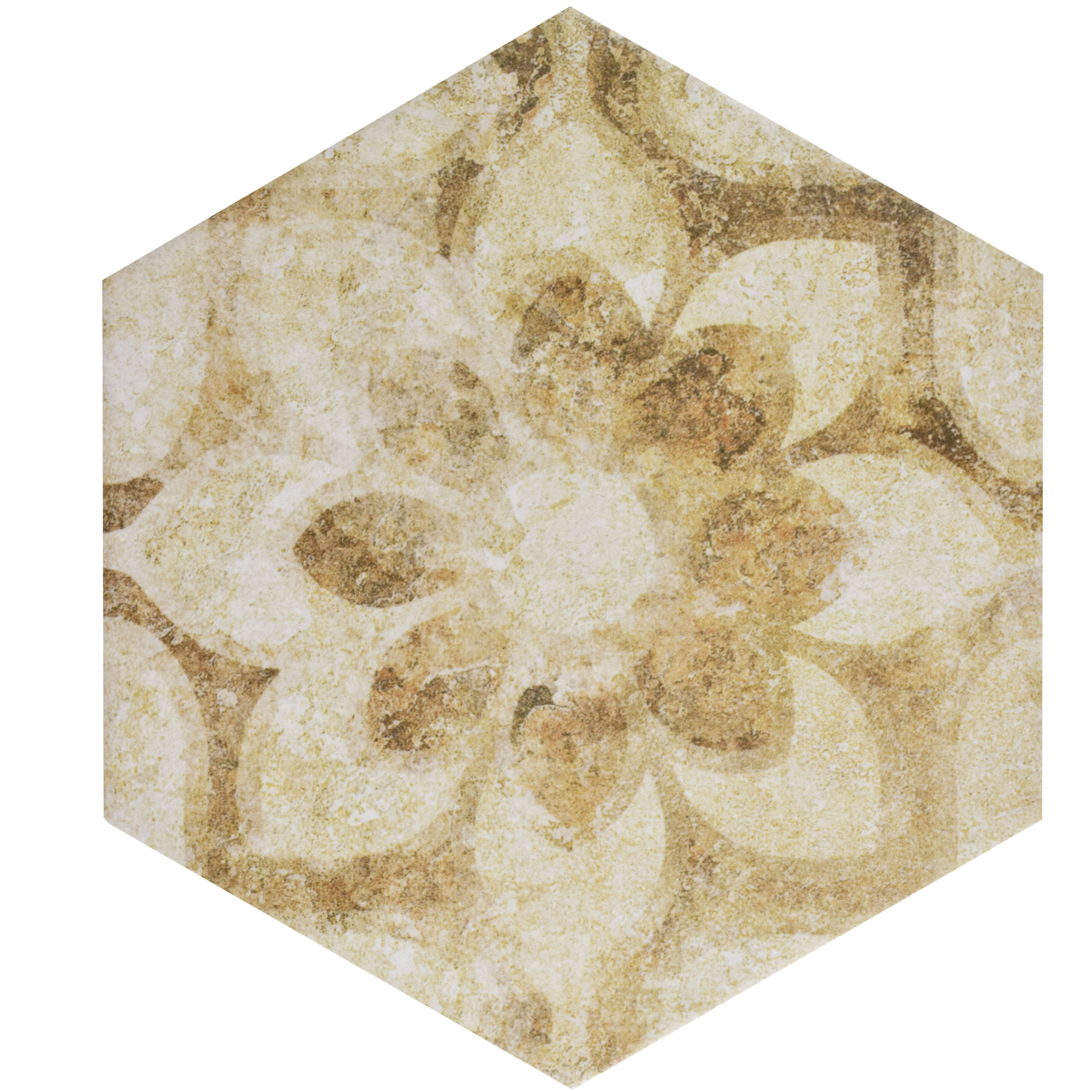 SomerTile 8.625x9.875-inch Pierre Cream Hex Decor Porcelain Floor ...