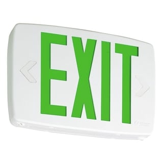 Lithonia Lighting Thermoplastic LED Emergency Exit Sign with Green and White Letters and Nickel Cadium Battery