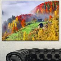 Designart 'Colorful Autumn Landscape in Mountains' Large Landscape Art Canvas Print - Red