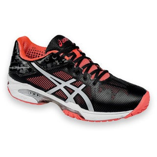 Asics Women's Gel Solution Speed 3 Black Synthetic Leather and Mesh Tennis  Shoes