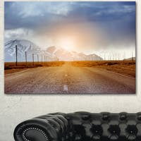 Designart 'Straight Road under Blue Sky' Landscape Wall Art Print Canvas