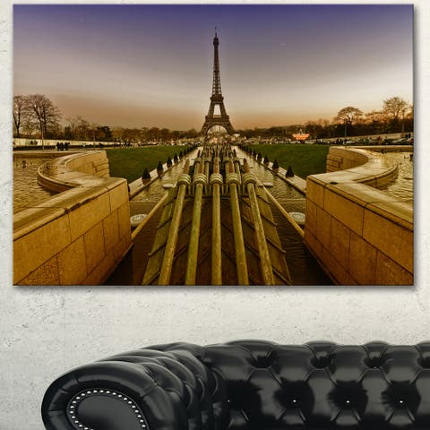 Designart 'Beautiful View of Eiffel Tower' Large Landscape Art Canvas Print - Brown
