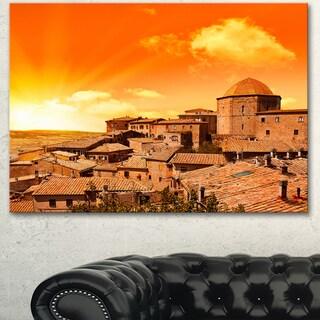 Designart 'Wonderful Italy Tuscany Hill at Dawn' Extra Large Cityscape Wall Art on Canvas - Orange